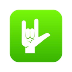 Rock gesture icon digital green