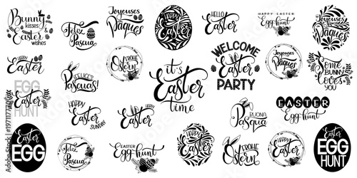 Happy easter big lettering set hand written easter phrases seasons hand written easter phrases seasons greetings easter quotes m4hsunfo
