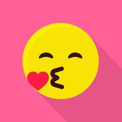 Kiss emoticon icon, flat style