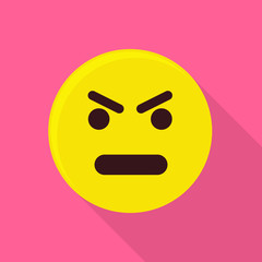 Angry emoticon icon, flat style