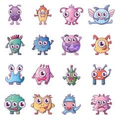Door stickers Monster Alien scary monster icons set, cartoon style