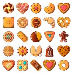 Cookies biscuit icons set, cartoon style
