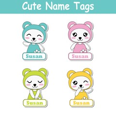 Vector cartoon illustration with colorful cute baby pandas suitable for kid name tag set design, label name, and printable sticker set