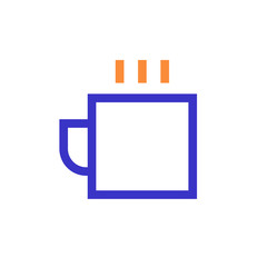 cup outline blue orange icon vector illustration