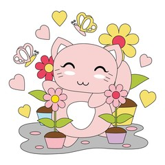 Vector cartoon illustration with cute kitten girl, and flowers garden suitable for  kid t-shirt graphic design, backdrop and wallpaper
