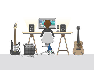 Illustration of man recording music on computer in studio