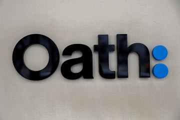 The logo for Verizon's Oath: is seen outside the company's offices in New York