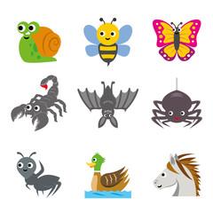 Funny Animal Insert Cartoon Vector illustration Icon Set