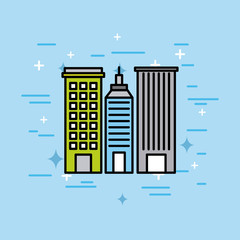 city buildings town architecture scene vector illustration