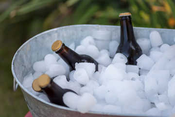 beer bottles sitting in galvanized ice bucket outdoors at picnic