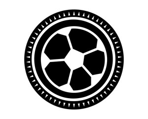 black soccer ball icon sport equipment tool utensil image vector