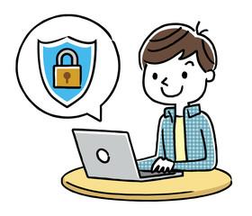 男の子:インターネット、セキュリティ