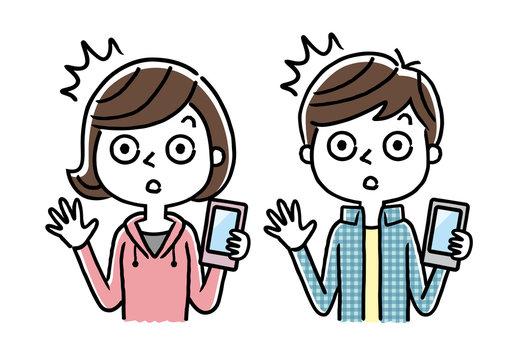 男の子と女の子:スマホ、スマートフォン