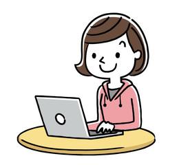 女の子:インターネット、パソコン