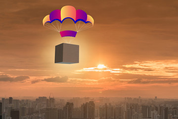 Delivery of boxes concept with parachute
