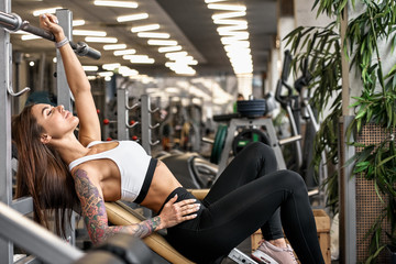 Fit slim young woman popsing in modern gym