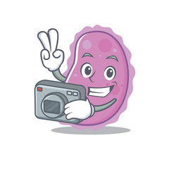 Photographer bacteria mascot cartoon style