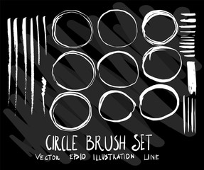 Set of vector doodle drawing Collection Circle brush on black background eps10