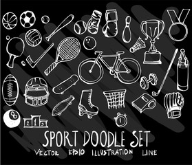 Set of vector doodle drawing Collection Sport on black background eps10