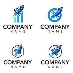 Rocket consulting vector logo icon illustration collection