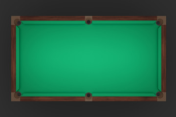 3d rendering of an empty billiard table in a top view showing its green felt cover.