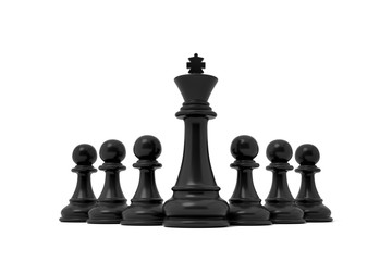 3d rendering of an isolated black king chess piece stands in the center among black pawns.