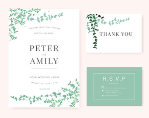 Wedding invitation Card template with green plant