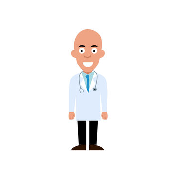 Bald doctor character flat illustration