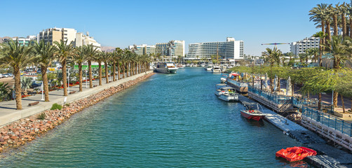 Serene morning at central marina in Eilat - famous resort and recreational city in Israel