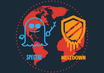 Attack of meltdown and Spectre exploit critical vulnerabilities in modern processors work on personal computers, mobile devices and cloud on world map. Vector illustration cyber security concept.