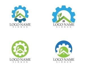 Building home nature service logo design concept
