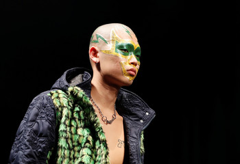 A model presents a creation of YUKIHERO PRO-WRESTLING by designer Yukihiro Teshima from his Autumn/Winter 2018 collection during Fashion Week Tokyo in Tokyo