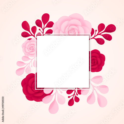 Vector Painted Flowers With Frame Isolated On White Background
