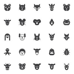Animals vector icons set, modern solid symbol collection, filled style pictogram pack. Signs, logo illustration. Set includes icons as panda head, koala, cat, hen bird, fox, zebra, bear, cow mouse