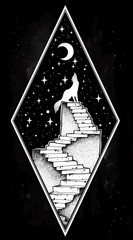 Abandoned ruin stairway to the night, howling wolf