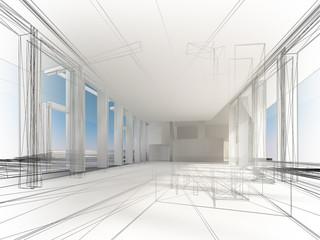 sketch design of interior hall, 3d rendering