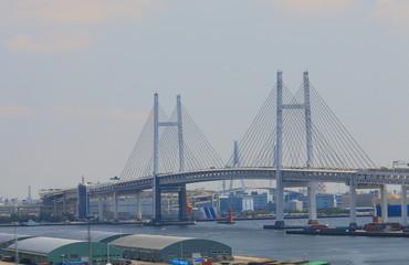 Yokohama Bay bridge cityscape Japan