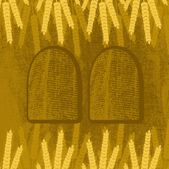 Shavuot. Concept of Judaic holiday. Ears of wheat and tablets