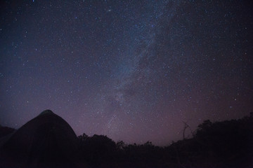 Milky way on the night sky above field with dark grass and tent