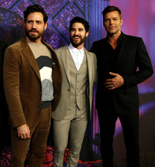 "Cast members Ramirez, Criss and Martin pose at a panel event for ""The Assassination of Gianni Versace: American Crime Story"" in Los Angeles"