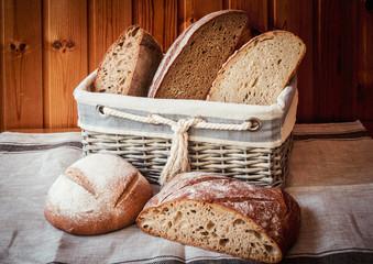Wicker basket with fresh bread.