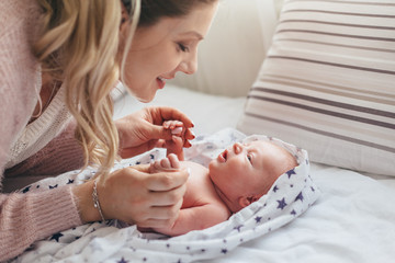 Mom with newborn baby