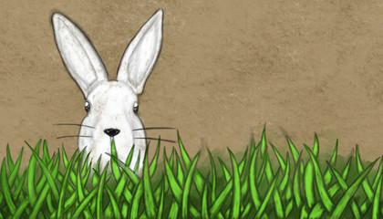 easter bunny in gras - colored vintage sketch illustration