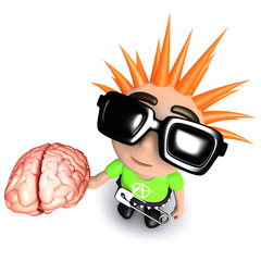 3d Funny cartoon punk rocker kid character holding a human brain
