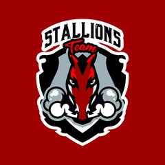 Colorful logo, emblem, horse sticker emitting steam from nostrils. Red stallion, fast animal, racing, shield, lettering. Vector illustration