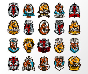 A large colorful collection of emblems, logos, badges of horses, stallion lets out steam from nostrils. Head animal, face, sports club, a mascot, a board, lettering. Vector illustration