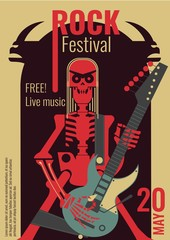 Rock music live festival poster vector illustration for free entry placard to rock concert. Design template of rocker band skeleton with skull playing electric guitar