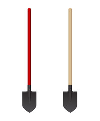 Set of photorealistic shovel on a white background. Vector illustration. Fire fighting tools.