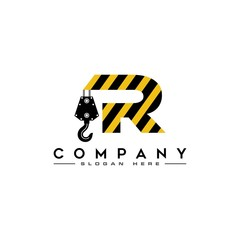 sophisticated luxury logos, concept logo excavator letter R, real estate, construction , initials icon design