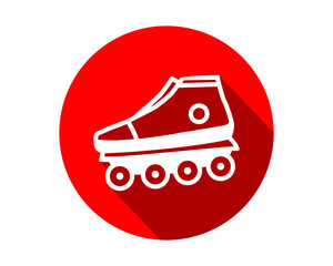 red roller skates shoes icon circle sports equipment tool utensil image vector